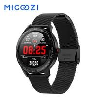 L9 Smart Watch Men ECG PPG Heart Rate Blood Pressure Smartwatch Full Round Touch Screen Stainless Steel Bezel Fitness Tracker