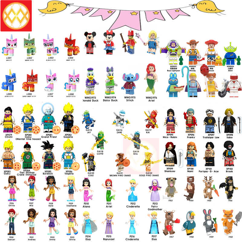 8pcs/set Playmobil Anime Bricks Dragon Ball super Unikitty Girls Princess Toy story Ninja Building Blocks Duploe Children Toys