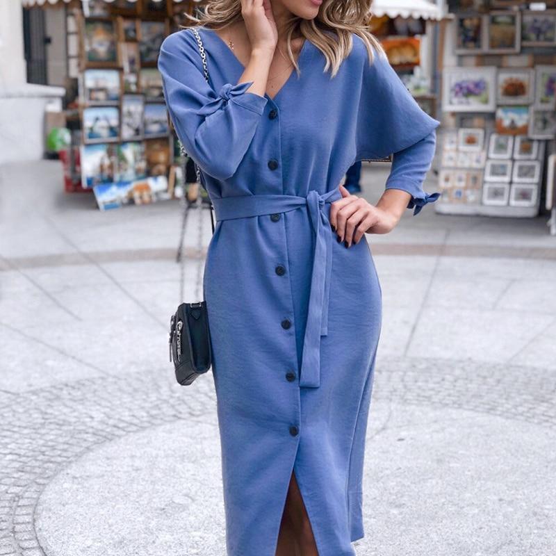 Robe Sexy col en V Midi Vintage pour femme 5