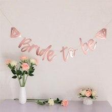 1pc noiva para ser banner rosa ouro tira bandeiras para festa de despedida galinha festa de noivado festa de casamento chuveiro