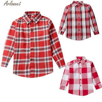 ARLONEET ubrania nadruk w szkocką kratę chłopcy dzieci z długim rękawem koszula dzieci topy 2020 moda bawełna czerwony przystojny dżentelmen koszula ubrania tanie i dobre opinie Poliester COTTON Pełna Pasuje prawda na wymiar weź swój normalny rozmiar Suknem Plaid 1PC Plaid Shirts REGULAR O-neck