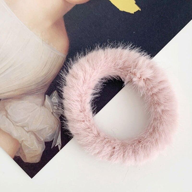 Новые зимние теплые мягкие резинки из кроличьего меха для женщин и девушек, эластичные резинки для волос, плюшевая повязка для волос, резинки, аксессуары для волос - Цвет: 58