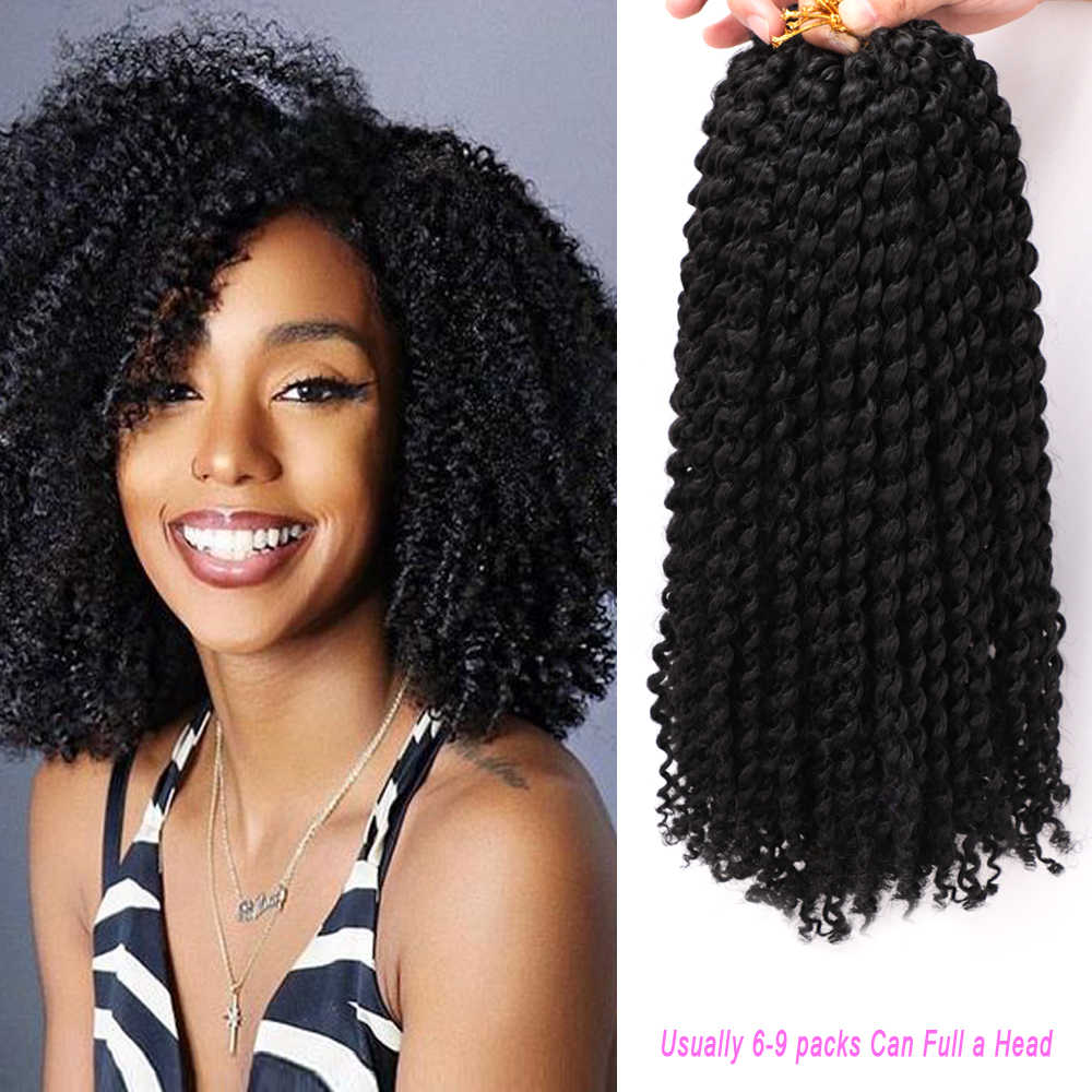"MODERN QUEEN Afro Kinky Curly Hair Ombre Long 12"" Marlybob Crochet Braids 24Roots/Pack Synthetic Crochet  Braiding Hair Weave"