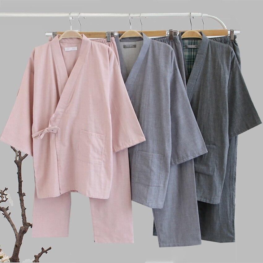 Traditional Kimono Sleepwear For Men Women Pure Cotton Loose Style Bathing Yukata Tops Trousers Pajamas Set Couple's Nightgown
