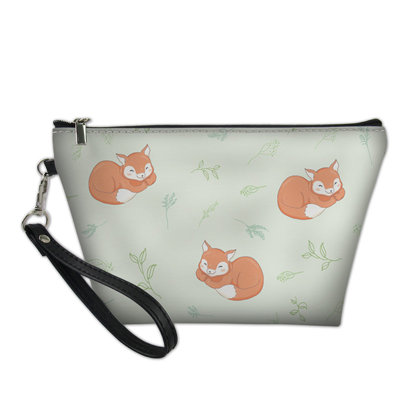 HYCOOL Make Up Bags Women Little Fox Print Female Fashion Casual Toiletry Bag Smooth Zipper Pouch Portable Travel Handbags New