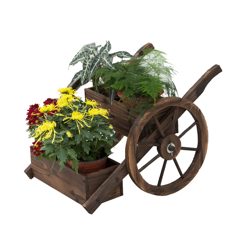 Wheel, Two Layers Of Float Flower Anticorrosive Carbonized Solid Wood Decorative Frame Plant Shelf Courtyard Balcony Outside The