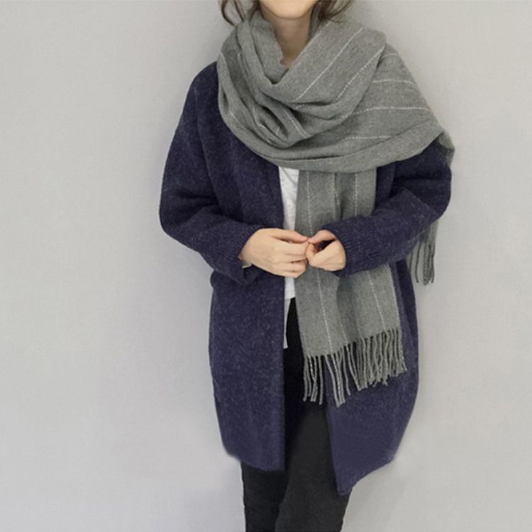 Faux Cashmere Scarf Women's New Style Korean-style Winter Thick Long Tassels Shawl Students Warming Scarf Wholesale