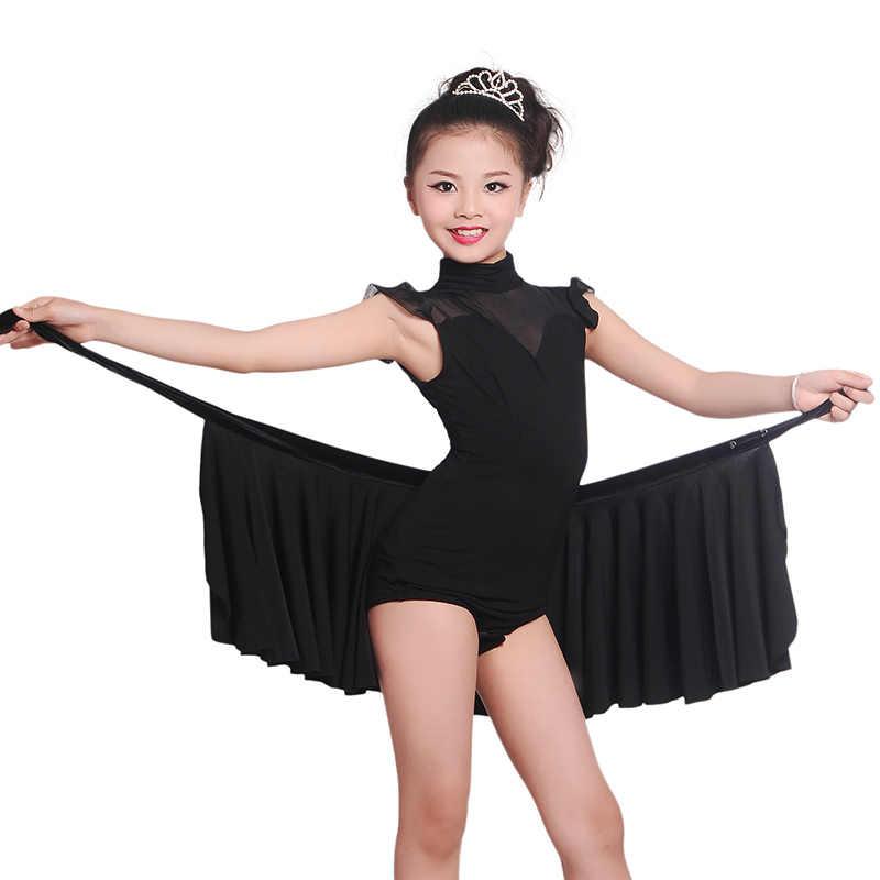 Детские кружевные костюмы без рукавов с юбкой для латинских танцев, Детские сексуальные бальные костюмы с бахромой, современные танцевальные костюмы