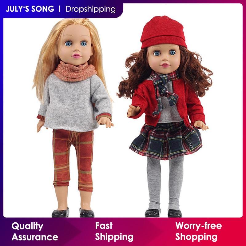 July45 s canção 45cm bonecas do bebê brinquedos de silicone completo para meninas bonito dormir acompanhar boneca em movimento olhos renascer boneca do bebê reborn menina