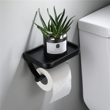 Toilet Paper Holder - Black - With Shelf
