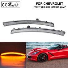 цена на For 2014-19 Chevrolet Corvette C7 LED Side Marker Lamp Light Front Amber Clear Lens
