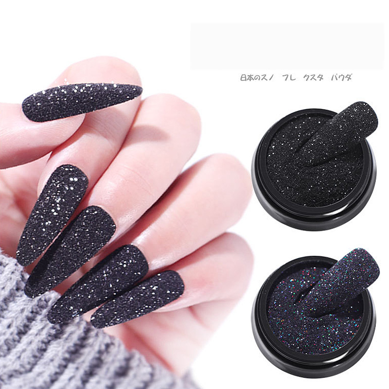 1 Box Black White Nail Glitter Powder Shiny Pigment Dust Laser Shining Sugar Nail Art Sequins Glitters Decorations Manicure