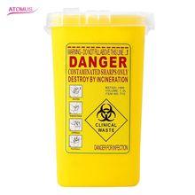 Portable Tattoo Medical Hard Plastic Sharps Container Flip-top Lid Makeup Needles Disposal Waste Box Mini Trash Can