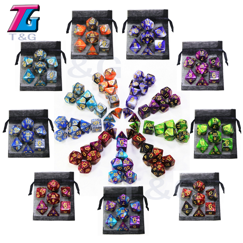 Hot Sale 9 Colors Mix Dice With Bag Toys For Adults Kids Plastic Cubes Special Birthday Gift Dungeons Dragons DND RPG