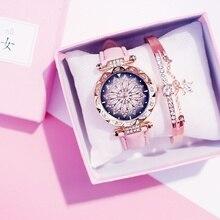 цена на Watches Bracelet Women Leather Band Watch Flower Rhinestone Quartz Wrist Watch Ladies Starry Sky Clock Relogio Feminino