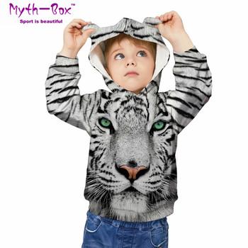 Jesień zima bluzy dziecięce tygrys 3D drukuj bluzy dziecięce Junior dziecko topy luźny sweter 5-12y chłopiec i dziewczynka swetry z kapturem tanie i dobre opinie Myth-box Pasuje prawda na wymiar weź swój normalny rozmiar Szybkie suche Wokół szyi TWQA Pełna Dzianiny Poliester