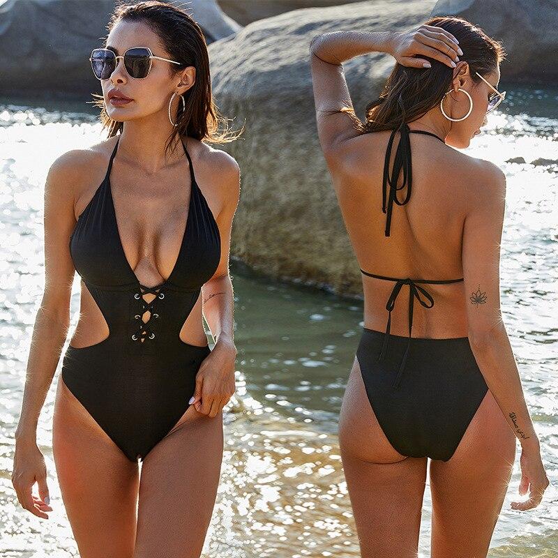 Fashion Swimsuit Bikinis for Woman Black Oversized S-5XL Halter Beach Dress Hollow Out Monokini Lady Beach Wear