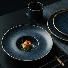 KINGLANG-plato de cerámica para Pasta, plato de filete dorado, plato de postre americano, plato de comida estilo occidental familiar, plato de carne