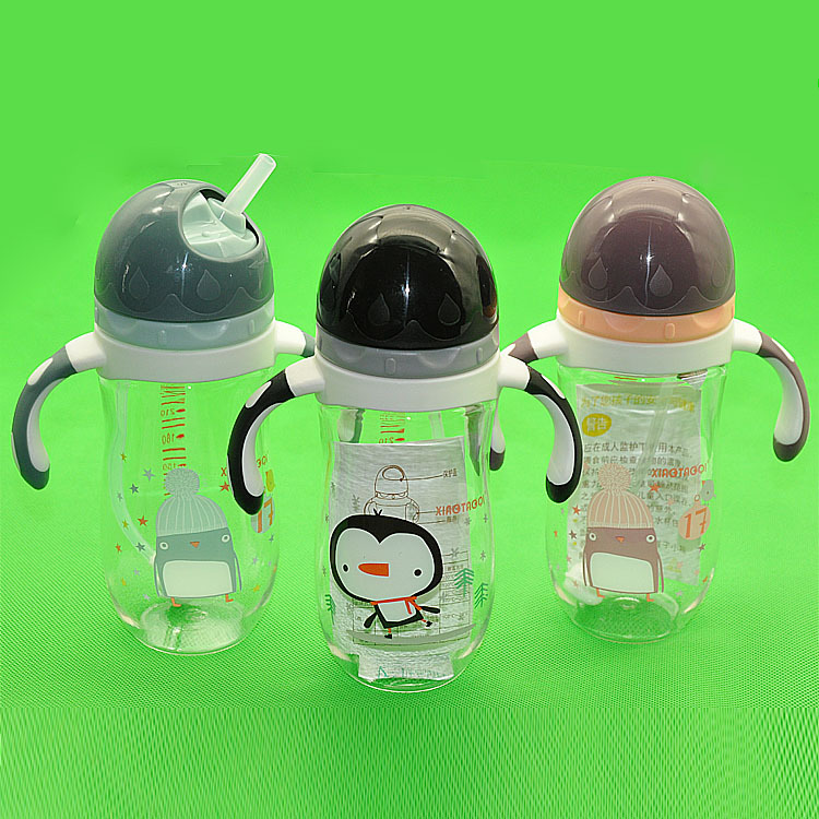 Children Cup With Straw Infant Sippy Cup Baby To Drink Glass Training Cup Rotary Cover Glass Tritan Material