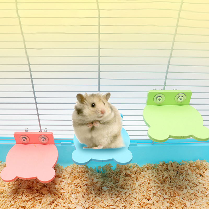 Hamster Platform Perch Pet Parrot Rack Toy Small Animal Squirrel Springboard Cage Accessories Double Screw Springboard