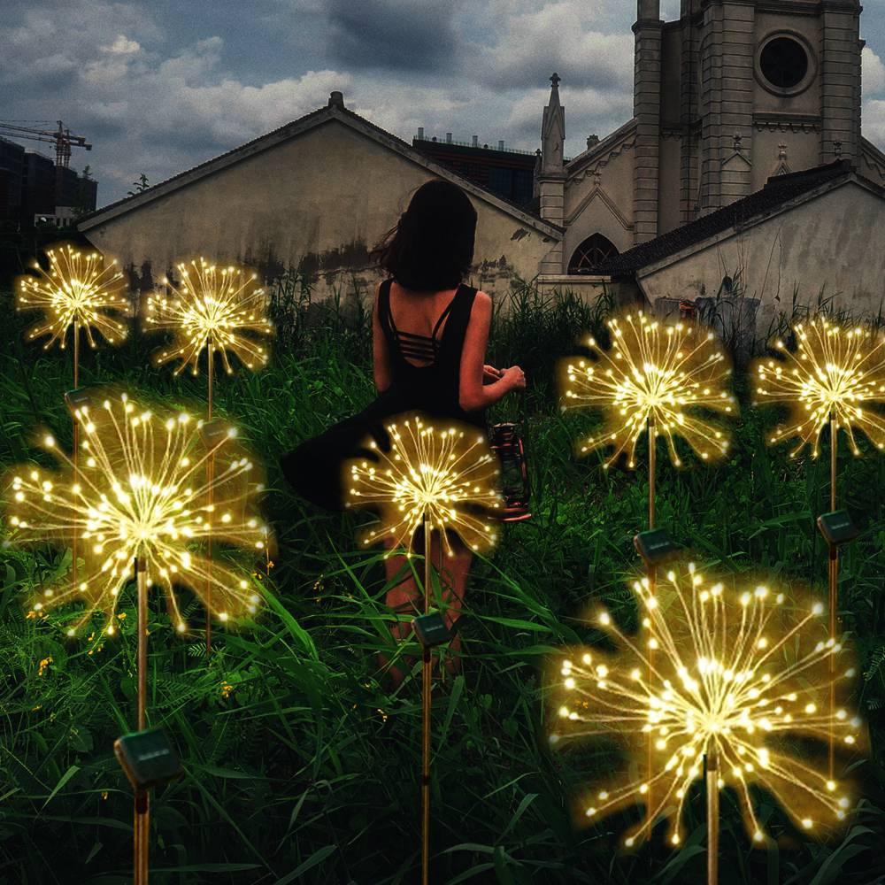 DIY Upgrade Solar Fireworks String Lights For Garden Decoration LED String Christmas Festive Fairy Lights Outdoor Solar Lamps
