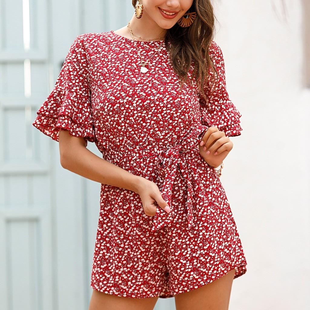 Womens Romper Floral Print Boho Short Sleeve Jumpsuit Beachwear