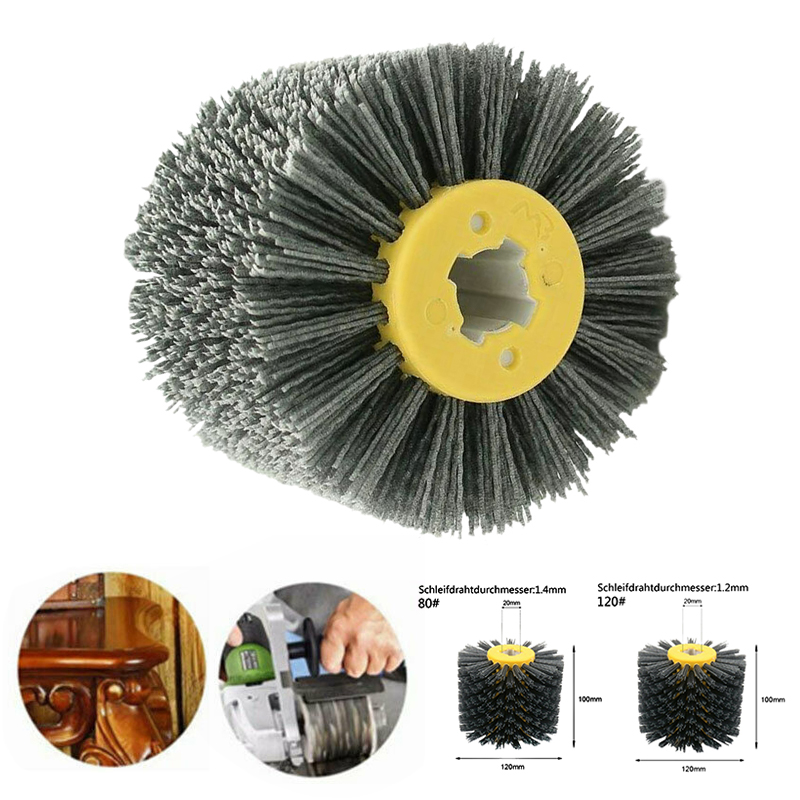 80/120 Grit Abrasive Brush Burnishing Wheel Brush Cleaning Tools For Wooden Furniture Polishing 120*100*20mm