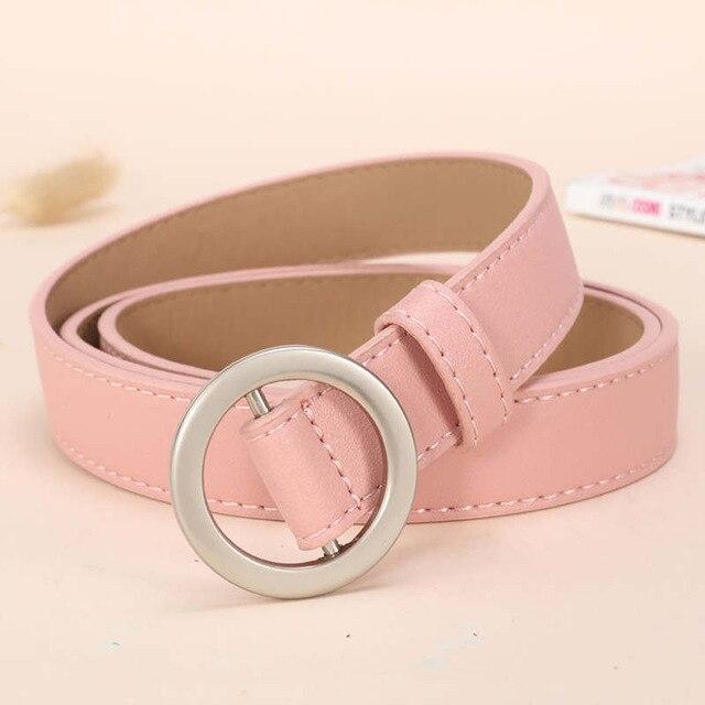 NO. ONEPAUL женский ремень с и пряжками, Золотая Пряжка, джинсы, дикие ремни для женщин, модные, студенческие, простые, новые - Цвет: SSM01 Pink silver
