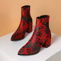 B2 7 Size 34 43 Female High Quality Silk Ankle Boots Ladies Pointed Toes Flowers Boot Woman High Heels Shoes Women Zips Shoe