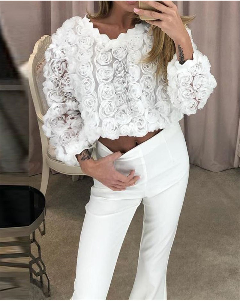 Women Ladies Blouses And Tops Casual  Lace Flower White O Neck Shirt Long Sleeve Blouse Blusas Mujer De Moda 2019