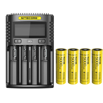 NITECORE UMS4 USB czterokanałowy ekran OLED ładowarka + akumulator litowo-jonowy NITECORE 21700 NL2150 5000mAh 3 6V 18Wh tanie i dobre opinie CCC CE RoHS DC 5V 2A 12V 1 5A 18W (MAX) Charging batteries
