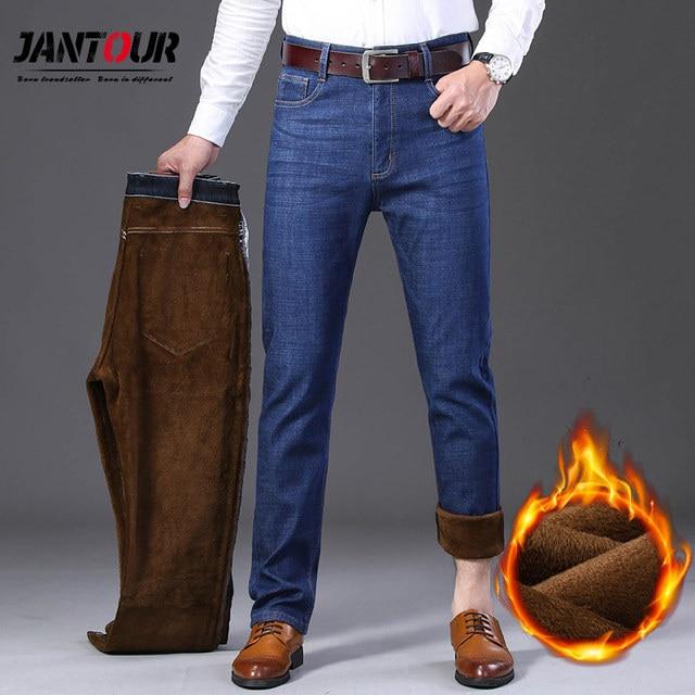 Jantour Inverno Termico Flanella Caldo di Stirata Dei Jeans del Mens di Marca di Alta Qualità Pantaloni In Pile da uomo Dritto Pantaloni affollano jean 40 42 44