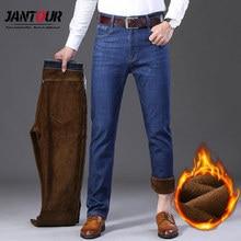 Jantour חורף תרמית חם פלנל למתוח ג ינס Mens איכות מותג גברים מכנסיים צמר ישר נוהרים מכנסיים ז אן 40 42 44