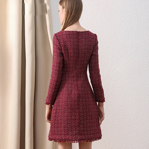 Image 4 - Only Plus OL Woolen Winter Dress For Women Peter Pan Collar Tweed Dress Vintage Wool Plaid Wine Dresses Warm Elegant Button
