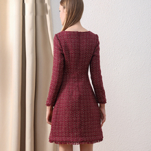 Women Peter Pan Collar Tweed Dress Vintage Wool Plaid Wine Dress Elegant Button Woolen Winter Dress For Office