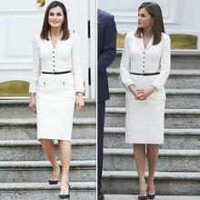 Letizia Подиум Дизайнер Высокое качество осень новая женская мода рабочие вечерние сексуальные повседневные винтажные элегантные шикарные твидовые белые платья