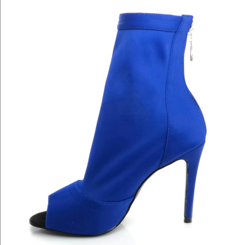 Evkoodance Professional Party Dance Boots Ladys Black Blue Strech Salsa Dance Shoes 10cm Heeled Women Latin Salsa Dance Boots