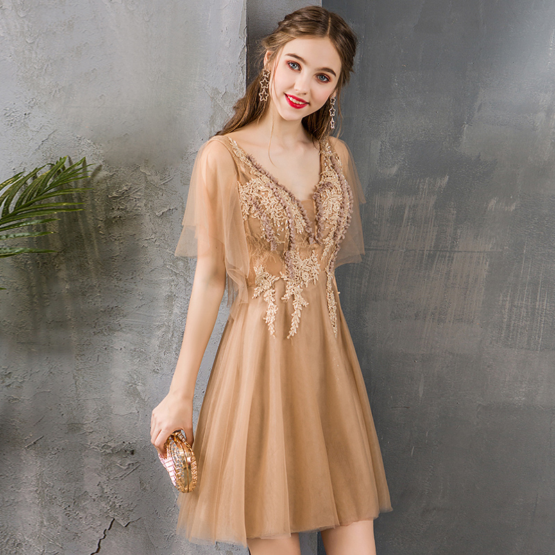 LAMYA 2020 Princess V Neck Knee Length Prom Dresses Lace With Appliques Evening Party Dress Simple Formal Gown Robe De Soiree