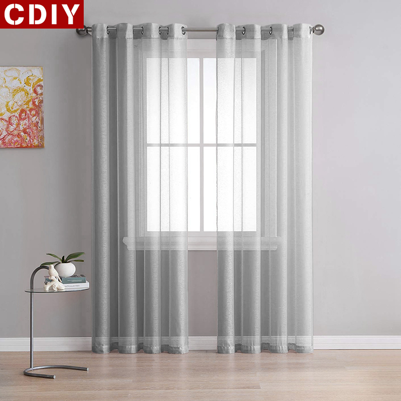 CDIY Solid White Tulle Curtains For Living Room Bedroom Kitchen Yarn Sheer Curtains Voile Curtains Window Treatments Finished