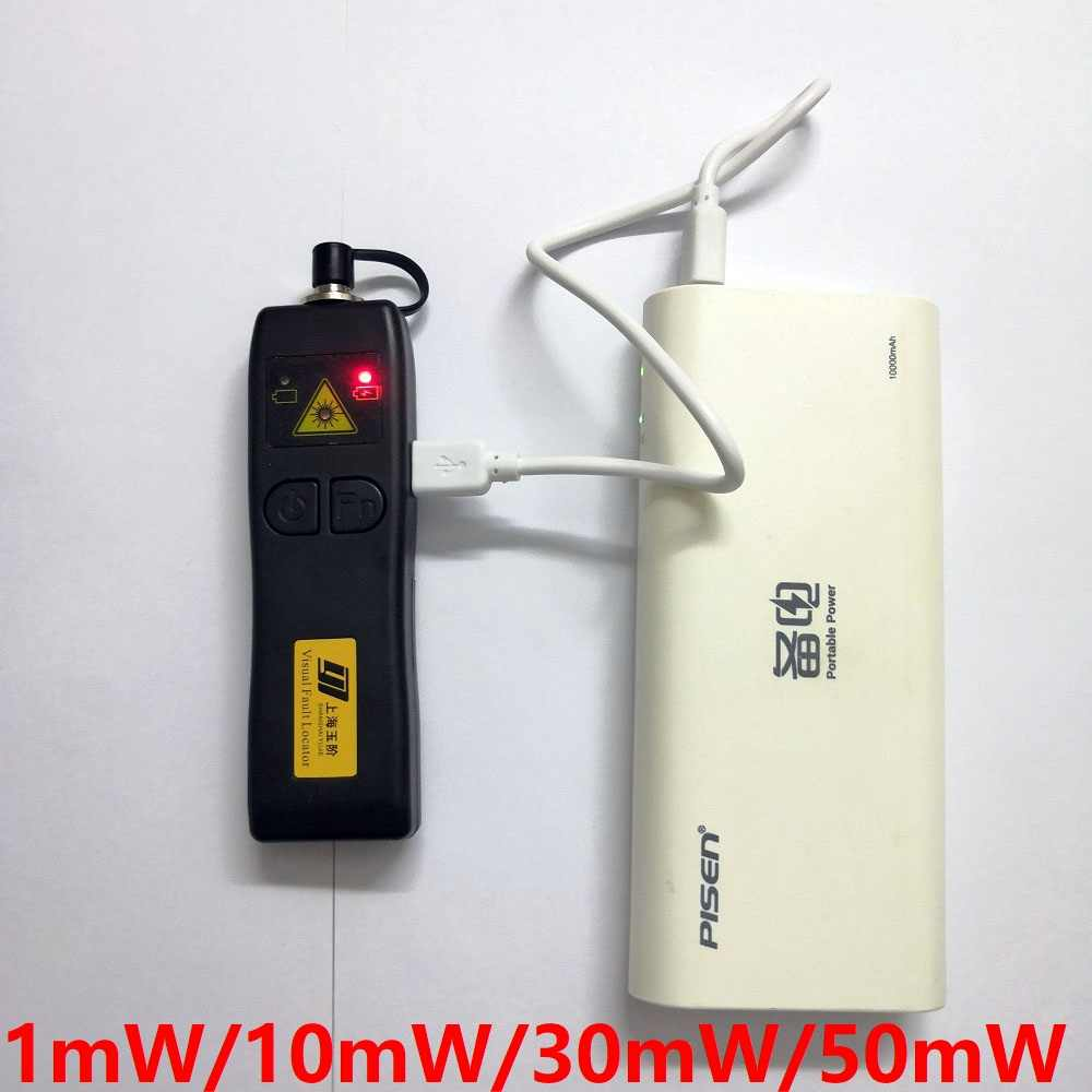 Free Shipping Rechargeable FTTH Fiber Optic Laser Tester 1mW/10mW/30mW/50mW Cable Visual Fault Locator