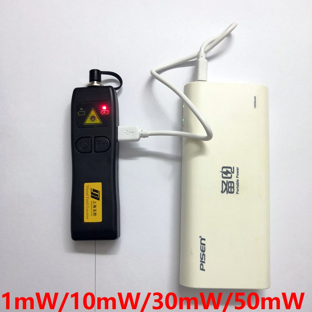 Free Shipping Rechargeable FTTH Fiber Optic Laser Tester 1mW/10mW/30mW/50mW Cable Visual Fault Locator-in Fiber Optic Equipments from Cellphones & Telecommunications