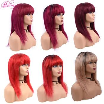Pelucas de cabello humano con flequillo pelucas cortas de pelo lacio para mujeres #613 color amarillo miel 1B/27 P4/27 Rubio 1B/118 rojo 99J Borgoña