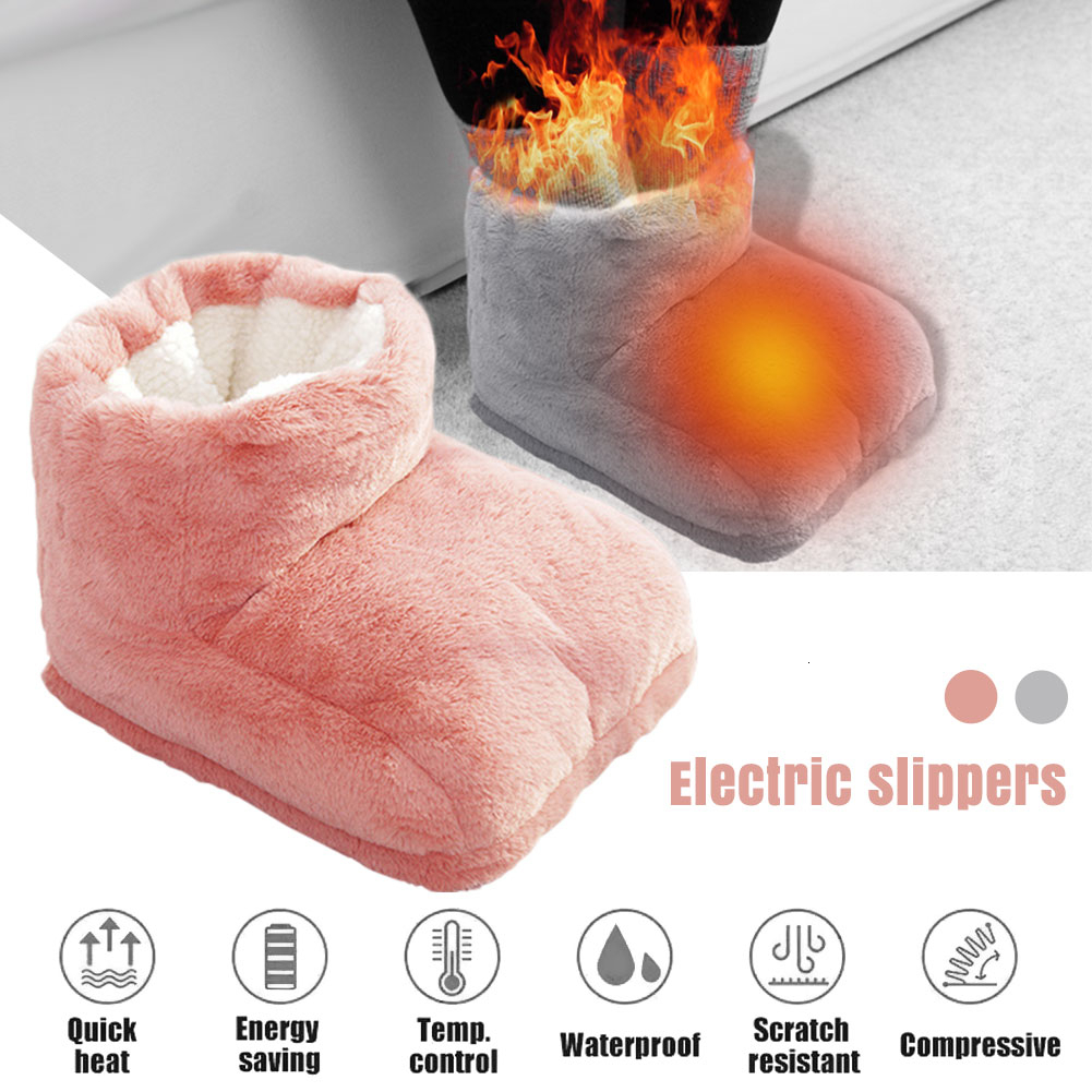 Electric Warm Pad Foot Warmer Heating Feet Shoe Slippers Wool Quick Heat Mat USB Charging Heated Patch Home Office Winter Use