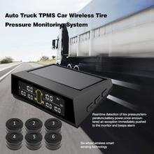 Sistema de supervisión de presión de neumáticos inalámbrico Solar para autobús o camión de 6 ruedas TPMS 6 sensores externos pantalla LCD de batería reemplazable