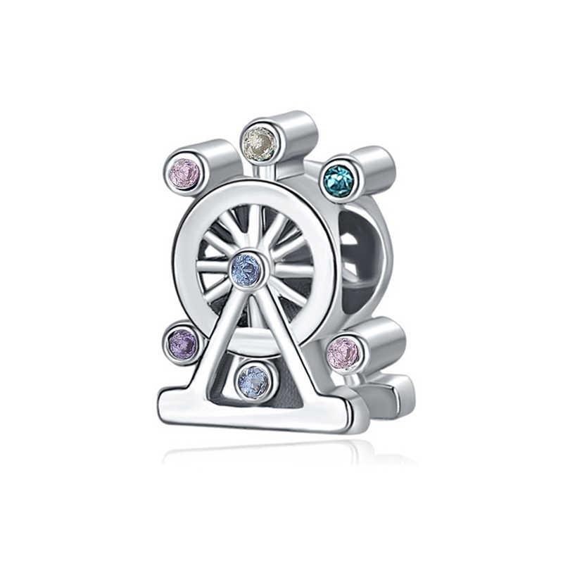 2 Pçs/lote Cor Prata Pena Ferris Wheel Pingente fit Encantos Pandora Pulseiras DIY Jóias Mulheres Acessórios Jóias de Prata