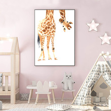 Nursery Poster Giraffe Canvas Painting Wall Art Cartoon Print Painting Minimalist Poster Print Wall Pictures For Kids Room Decor astronaut spaceship canvas poster nursery quotes wall art print cartoon painting nordic kids decoration pictures baby room decor