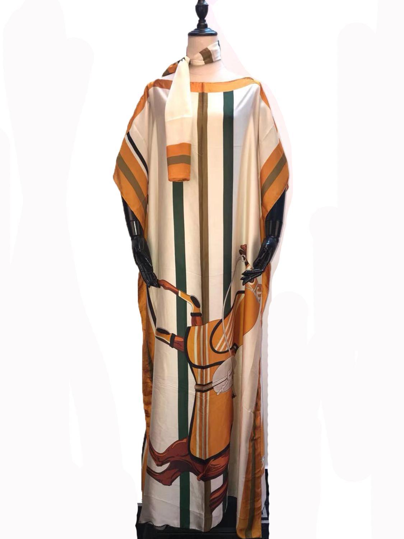 New Fashion European Printed Italian Silk Kaftan Dresses Length 145 Cm X 100 Cm Dashiki Party Dresses African Clothes