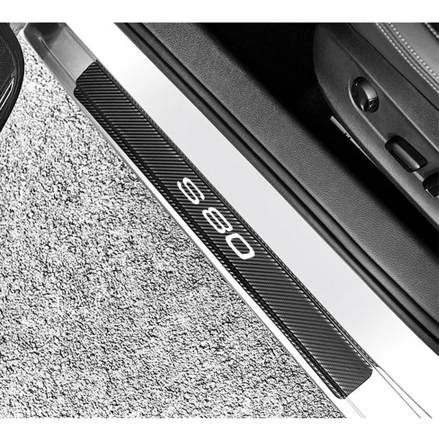 4 pçs de fibra carbono adesivos porta do carro soleiras protetor porta scuff placa para volvo s80 acessórios interiores