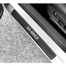4 قطعة ملصقات ألياف الكربون سيارة عتبة الباب حامي الباب لوحة بالية لفولفو S80 اكسسوارات السيارات الداخلية