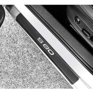 Image 1 - 4pcs סיבי פחמן מדבקות לרכב דלת אדני מגן דלת שפשוף צלחת עבור וולוו S80 רכב אביזרי פנים